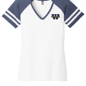 VNeck-Tshirt-WhiteHeatheredTrueNavy-Front